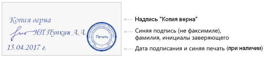пример заверения копии документа