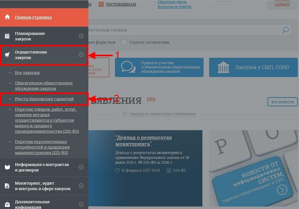 вертикальное меню сайта ЕИС
