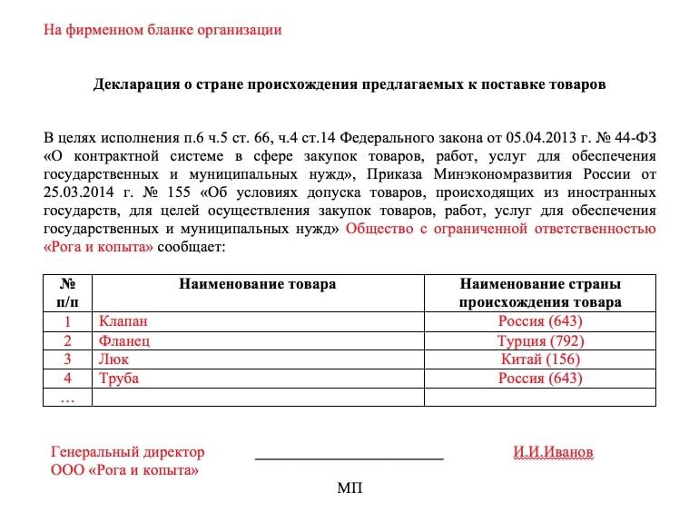 Документ подтверждающий страну происхождения товара по 44 фз
